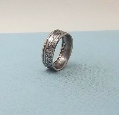 Third Reich WWII 1939 German 2 mark 62.5% silver coin ring size 8