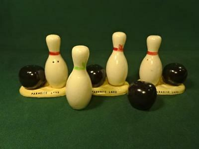 4 Pair Lot Vintage Ceramic Bowling Ball & Pin Souvenir Salt & Pepper Shaker Sets