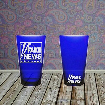 Fake News Channel Sandblasted Etched Pint Glass