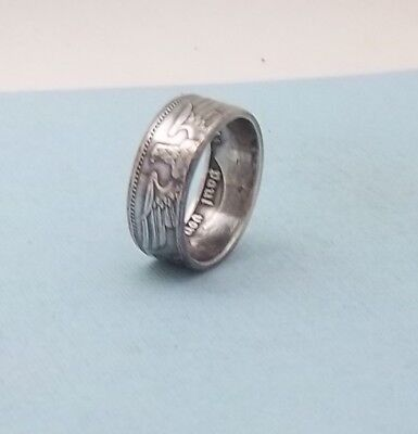 Third Reich WWII 1938 German 5 mark 90% silver coin ring size 10