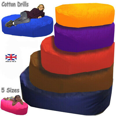Beanbag Bed COTTON Sofa Sac Giant Large Seat Settee Bean Bag Filled or Cover UK