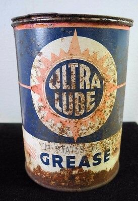 Ultra Lube Grease Can 1LB Tin Litho Canco USA Gas & Oil Rusty Unopened