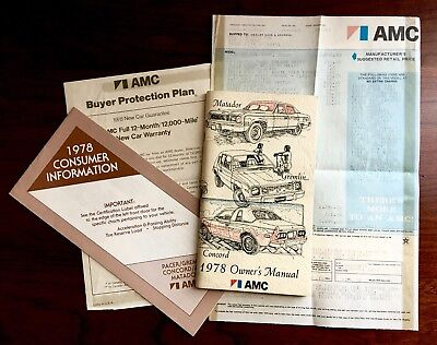 1978 Amc Concord Window Sticker Matador Gremln Owners Manual Buyer Protection +