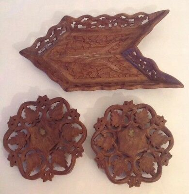 SET Vintage Wood Trivets & Tray w Brass - India East Meditation Moraccan Style