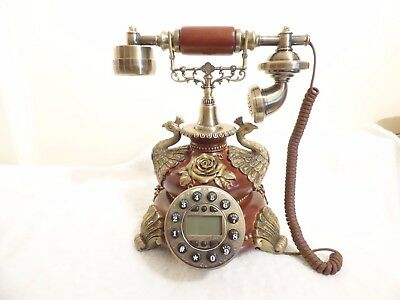 vintage antique style retro telephone peacocks