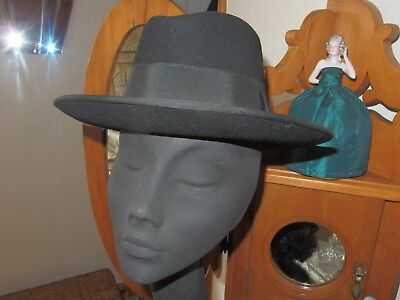 Man's Vintage French 1940s/50s Quality Black Trilby Hat  Reenactment