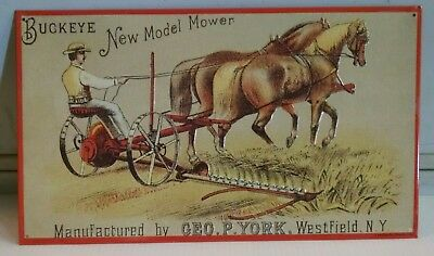 BUCKEYE New Model Horse Drawn Mower Geo P York NY OLD Vintage Metal Sign