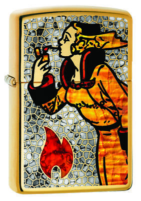 Zippo Custom Lighter Vintage Windy Lady Flame Fusion Design High Polish Brass