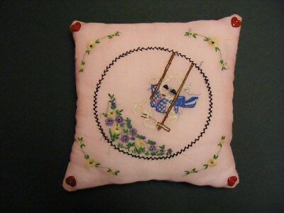 ATQ 1920s 30's Embroidered Bunny on Swing Pink Organdy Boudoir Pillow & Cover