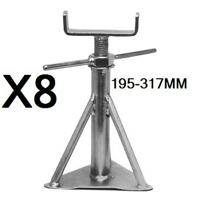 """8 x Static Caravan Axle Support Stands Large 15/"""" 18.5/"""""""