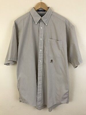 Vintage Tommy Hilfiger 90s Short Sleeve Button Down Striped Shirt Men's Size Lrg