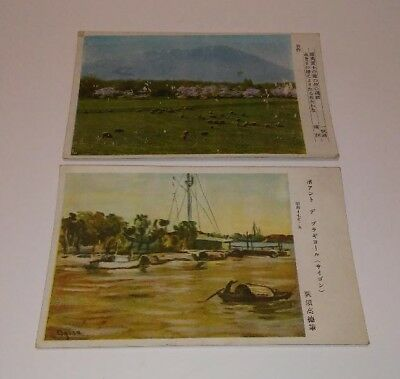 Two Original And Vintage Unused World War Ii Japanese Military Postcards