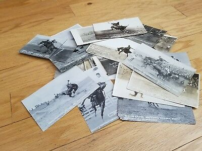 Large Lot Of 30 Thirty Old Vintage Rppc Real Photo Western Rodeo Postcards