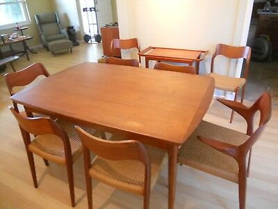 mid century modern dining table extension leaf Povl Dinesen 1950s Teak