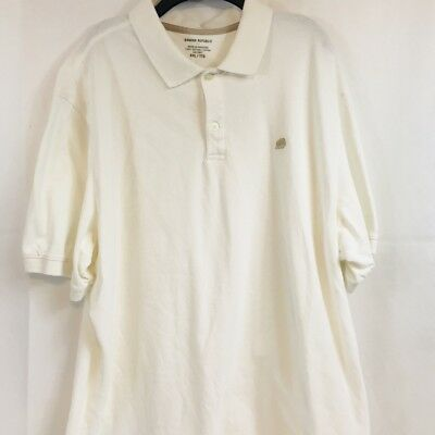 Banana Republic Mens Polo Shirt Short Sleeve Elephant Logo White Size XXL 2XL