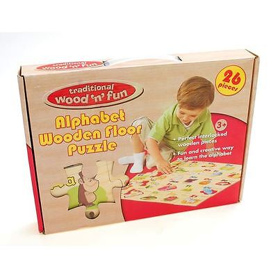 Traditionell Wood 'n' Fun Riese Alphabet Holz Bodenpuzzle 3 Jahre+