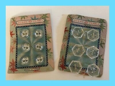 Vintage Ocean Pearls Buttons - 2 Cards With 6 Buttons On Each