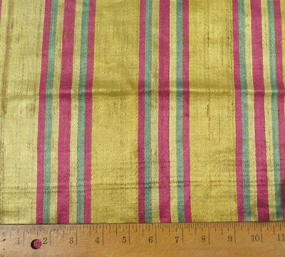"Rare & Fabulous French 18thc Woven Silk Home Dec Stripe Fabric c1760~30""LX18""W"