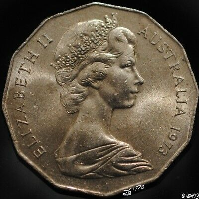 1973 Coat of Arms Fifty 50 Cents Coin - good average circulated coin.