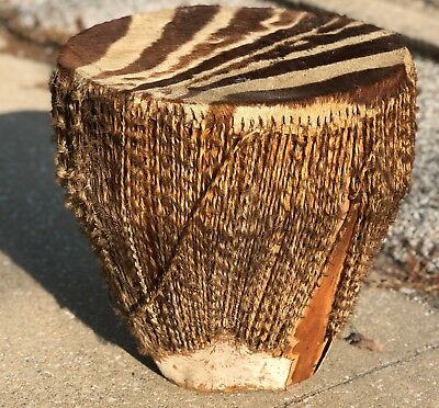 "Vintage 18"" Handmade Uganda Native Animal Skin Zebra Stripe Embuutu Africa Drum"