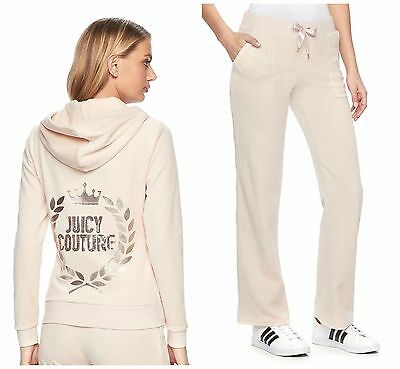 NWT Juicy Couture Tracksuit Velour Embellished Bootcut Pants Women Cream size XL