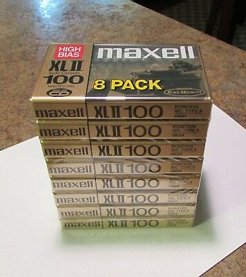 MAXELL HIGH BIAS XL II  100 Min CASSETTE TAPES - 8 PACK NEW - Made In Japan