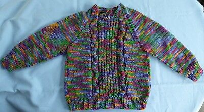 Baby Hand Knitted Jumper Multi Coloured Suit 3 To 6 Month Old (36)