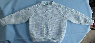 Baby Hand Knitted Jumper, Multi Coloured, Suit 6 To 9 Month Old (30)