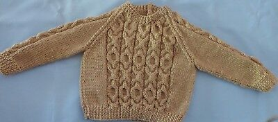 Baby Hand Knitted Jumper Oatmeal Colour, Suit 3 To 6 Month Old (85)