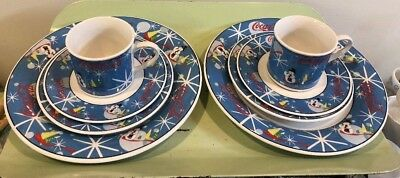 Coca Cola Laughing Snowman Christmas dinnerware 8 pieces total