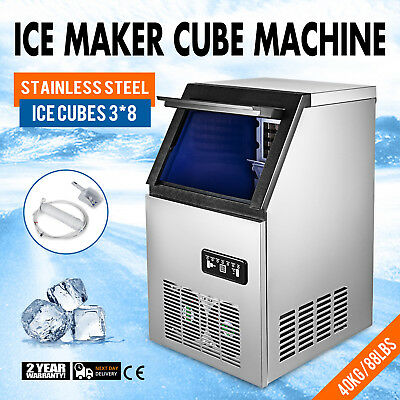 Ice Cube Making Machine Stainless Steel 90lb/24h  Ice Cube Maker 24pcs Stainless