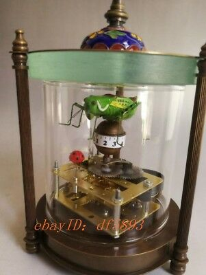 copper and Cloisonne make grasshopper and lady beetle mechanical watch