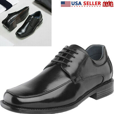 Bruno Marc Mens Leather Shoes Formal Lace-up Square Toe Business Oxford Shoes