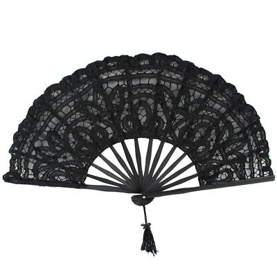 Handmade Cotton Lace Folding Hand Fan for Party Bridal Wedding Decoration ( E3W5