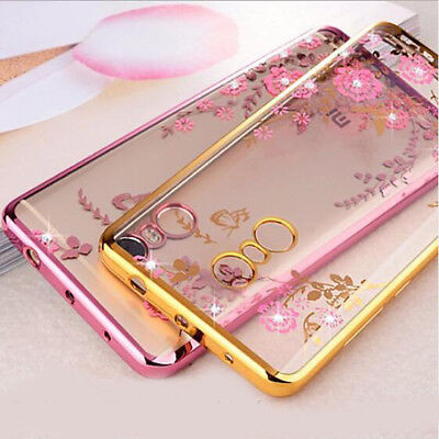 Luxury Flower Butterfly Crystal Diamond Clear Soft Case Cover for Xiaomi Redmi