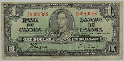 1937 $1 (One) Dollar Bank of Canada SN#9380088 (Circulated) (080518)