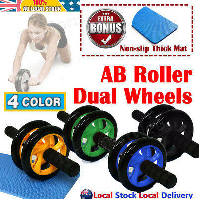 AB Fitness Whell Roller Abdominal Waist Workout Exercise Gym + FREE MAT Muscle