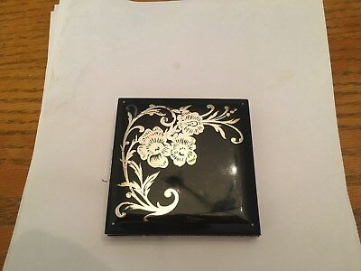 Vtg. Antique Rex Overlay Sterling Silver Flowers Lucite Style Compact VGVC+