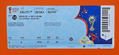 Brazil v Belgium Quarter Final Game #58 used ticket 2018 Worldcup with names