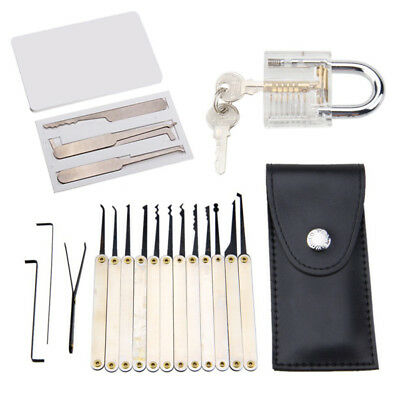 12Pcs Lock Pick Set Key Extractor Tool Transparent Padlocks+5Pcs/Set Credit Card