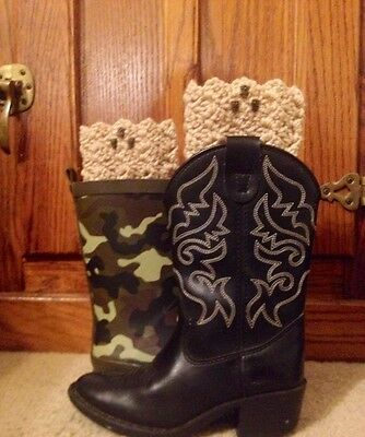 "Child Crocheted Beige 3 Owls Boot Cuff Toppers Leg Warmers MED 8""-9.5"" Around"
