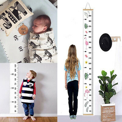 Children Wooden Growth Ruler Scale Chart Baby Kids Room Decor Hanging Measure