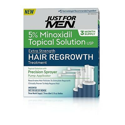 Just For Men Extra Strength Hair Regrowth Treatment, 5% Minoxidil Topical Soluti