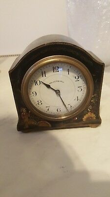 Antique Walker & Hall Japenese Painted Laquered Clock French Time Piece Working