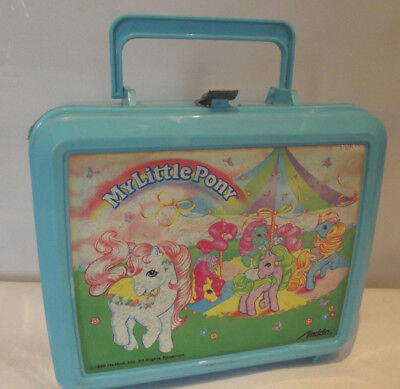 Vintage My Little Pony Blue Plastic  Lunch Box 1989 by Aladdin