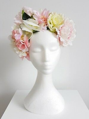 Miss Boho womens floral flower headband fascinator in Light pink and white