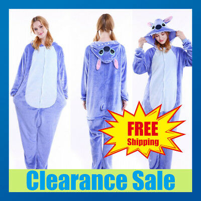 Adult Fleece Unisex Pyjamas Kigurumi Stitch Pajamas Cosplay Costume Sleepwear