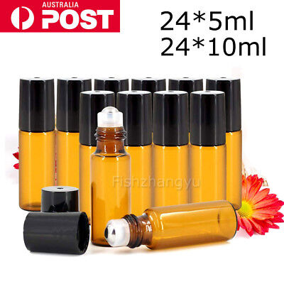 24pcs 10ml THICK Glass Roller Bottles Steel Roll On Ball for Essential Oils OZ