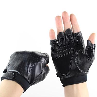 Sports Half Finger Gloves Men Faux Leather Gym Weight Lifting Mittens Fingerless
