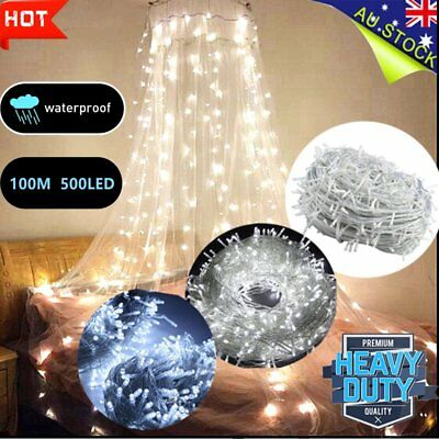 500 LED 100M Cool White String Strip  Fairy Lights Wedding Party Garden Curtain